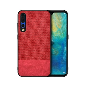 Cotton Cloth + PU Leather Splicing Coated TPU Case for Huawei P30 - Red