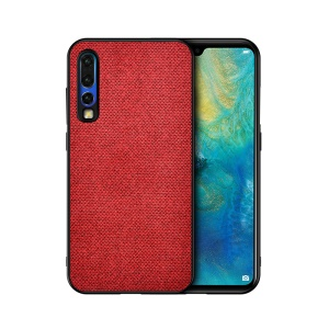 Cotton Cloth Coated TPU Case for Huawei P30 - Red