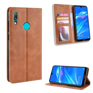 Vintage Style PU Leather Phone Shell for Huawei Y7 (2019) / Y7 Prime (2019) - Brown