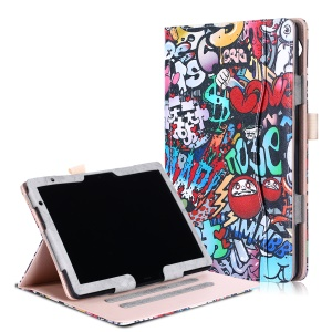 Patterned Front Pocket PU Leather Case Stand Cover with Hand Strap forHuawei MediaPad T5 10/MediaPad M5 lite 10 - Colored Graffiti
