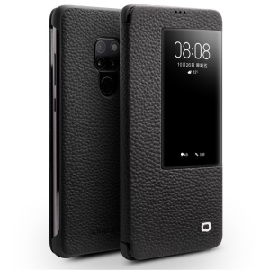 QIALINO Litchi Texture Smart View Genuine Leather Case for Huawei Mate 20 - Black
