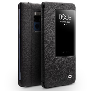 QIALINO View Window Genuine Leather Phone Case with Stand for Huawei Mate 20 X