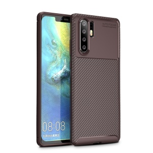 For Huawei P30 Pro Carbon Fiber Texture Shockproof TPU Cell Phone Case - Brown