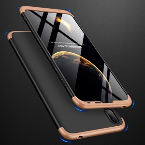 GKK Detachable 3-Piece Matte Hard PC Case for Huawei Y7 Pro (2019) - Gold / Black