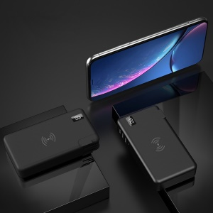 D18 3-in-1 5W Wireless Charger + 10000mAh Power Bank + 3A USB Fast Charging Plug with 3 Adapters - Black
