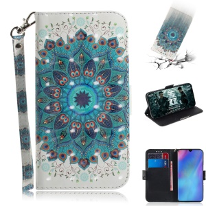Pattern Printing Light Spot Decor Leather Wallet Case for Huawei P30 Pro - Blue Flower