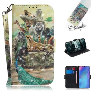 Pattern Printing Light Spot Decor Leather Wallet Case for Huawei P30 Pro - Animal World