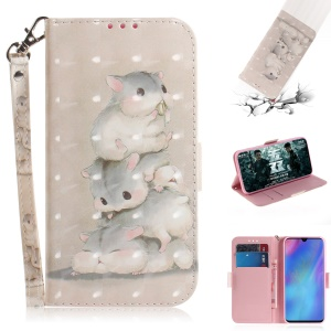 Pattern Printing Light Spot Decor Leather Wallet Case for Huawei P30 Pro - Mouse Pattern