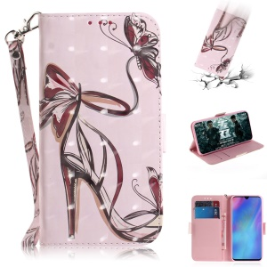 Pattern Printing Light Spot Decor Leather Wallet Case for Huawei P30 Pro - High-heeled Shoes