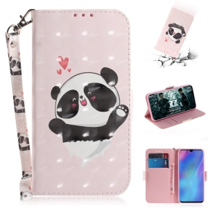 Pattern Printing Light Spot Decor Leather Wallet Case for Huawei P30 Pro - Panda and Hearts