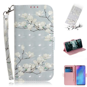 Pattern Printing Light Spot Decor Leather Wallet Case for Huawei P30 Pro - White Flowers