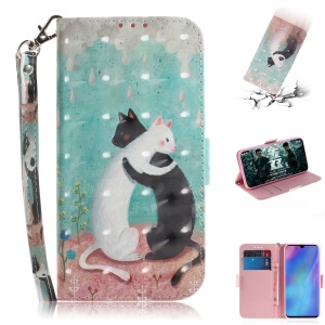 Pattern Printing Light Spot Decor Leather Wallet Case for Huawei P30 Pro - Two Cats