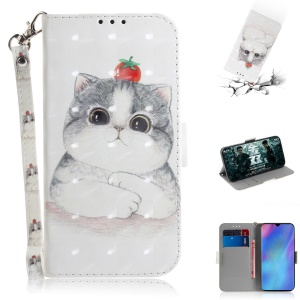 Pattern Printing Light Spot Decor Leather Wallet Case for Huawei P30 Pro - Cat Holding a Tomato
