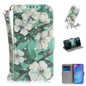 Pattern Printing Light Spot Decor Leather Wallet Case for Huawei P30 Pro - Beautiful Flowers