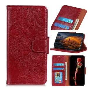 Textured Split Leather Wallet Case for Huawei Y6 (2019) - Red