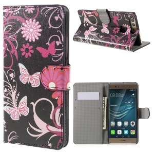 Diary Style Wallet Stand Leather Case for Huawei P9 - Butterflies and Flowers