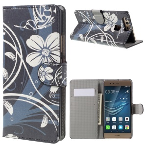 Diary Style Wallet Stand Leather Cover for Huawei P9 - Pretty Flowers