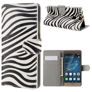 Diary Style Wallet Stand Leather Shell for Huawei P9 - Zebra Stripes