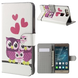 Flip Wallet Stand Leather Case for Huawei P9 - Sweet Owl Family