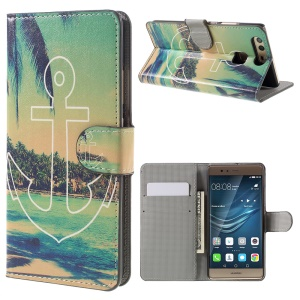 Flip Wallet Stand Leather Cover for Huawei P9 - Anchor Seaside View