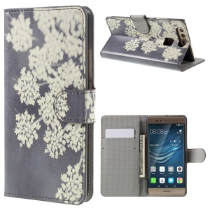 Card Holder Stand Leather Case for Huawei P9 - White Flowers
