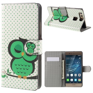 PU Leather Case with Card Slots and Stand for Huawei P9 - Green Napping Owl