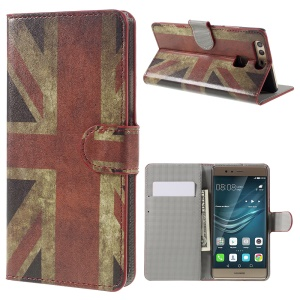 Wallet Stand Faux Leather Shell Case for Huawei P9 - Retro UK Flag