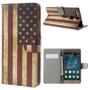 Faux Leather Card Holder Case for Huawei P9 - Vintage US American Flag