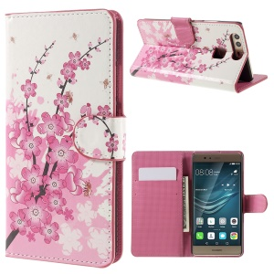Wallet Stand Leather Flip Cover Case for Huawei P9 - Plum Blossom