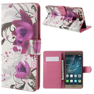 Card Holder Stand Leather Phone Case for Huawei P9 - Kapok Flower