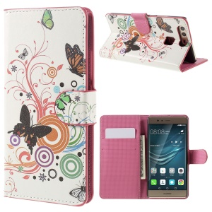 Protective Leather Case with Stand for Huawei P9 - Butterflies and Circles
