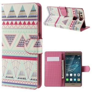 Flip Stand Leather Case Protector for Huawei P9 - Tribal Triangles