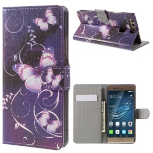 Flip Stand PU Leather Cover Protector for Huawei P9 - Purple Butterflies and Vines