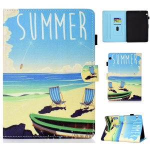 Patterned Leather Card Holder Tablet Flip Case for Huawei MediaPad T3 10 - Summer Beach