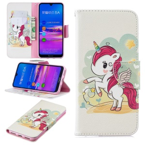 Pattern Printing Wallet Leather Stand Case for Huawei Honor 8A - Unicorn