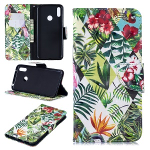 Pattern Printing Light Spot Decor Leather Wallet Case for Huawei Y7 (2019) - Leaves