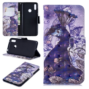 Pattern Printing Light Spot Decor Leather Wallet Case for Huawei Y7 (2019) - Peacock