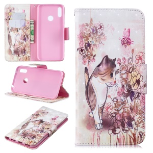 Pattern Printing Light Spot Decor Leather Wallet Case for Huawei Y7 (2019) - Cat and Flowers