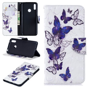 Pattern Printing Light Spot Decor Leather Wallet Case for Huawei Y7 (2019) - Beautiful Butterfly