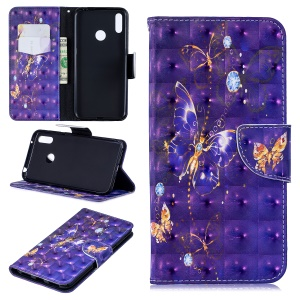 Pattern Printing Light Spot Decor Leather Wallet Case for Huawei Y7 (2019) - Vivid Butterfly