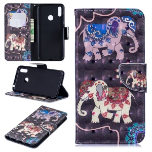 Pattern Printing Light Spot Decor Leather Wallet Case for Huawei Y7 (2019) - Elephant
