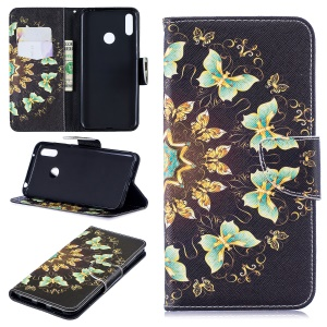 Pattern Printing Wallet Leather Stand Case for Huawei Y7 (2019) - Colorized Butterfly