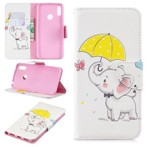 Pattern Printing Wallet Leather Stand Case for Huawei Y7 (2019) - Elephant Holding an Umbrella