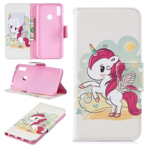 Pattern Printing Wallet Leather Stand Case for Huawei Y7 (2019) - Unicorn