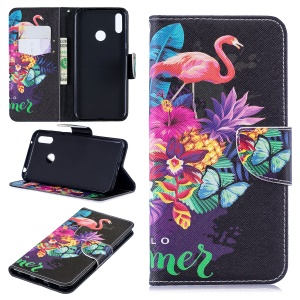 Pattern Printing Wallet Leather Stand Case for Huawei Y7 (2019) - Crane and Flowers