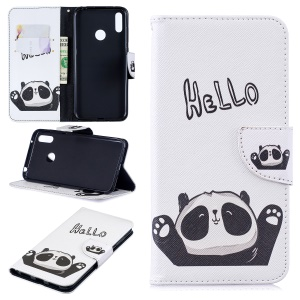 Pattern Printing Wallet Leather Stand Case for Huawei Y7 (2019) - Cute Panda