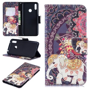 Pattern Printing Wallet Leather Stand Case for Huawei Y7 (2019) - Flower and Elephant