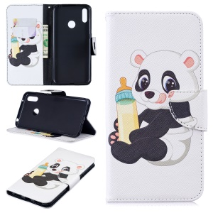 Pattern Printing Wallet Leather Stand Case for Huawei Y7 (2019) - Panda Holding a Bottle