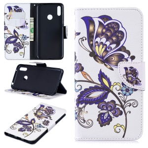 Pattern Printing Wallet Leather Stand Case for Huawei Y7 (2019) - Butterfly Pattern
