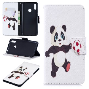 Pattern Printing Wallet Leather Stand Case for Huawei Y7 (2019) - Panda Playing Football